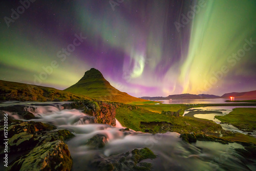 northern light over Kirkjufell mountain