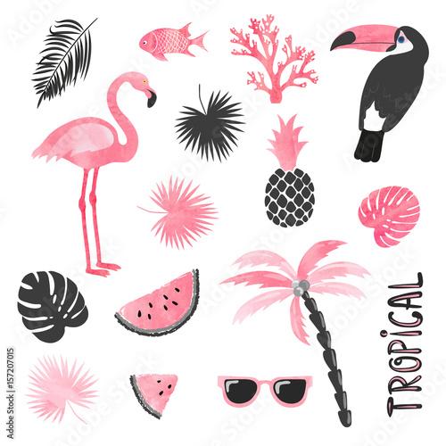 tropikalny-zestaw-w-kolorach-rozowym-i-czarnym-flamingo-tukan-arbuz-dlon