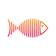 Stylized Gradient Fish Is Lines Logo Vector Illustration.