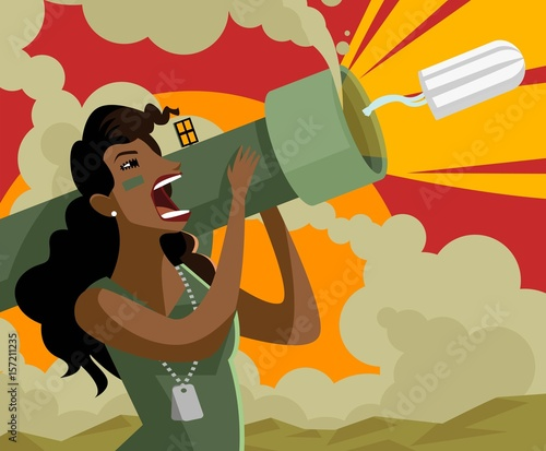 angry emotional african latina woman shooting a tampon with a bazooka Wallpaper Mural
