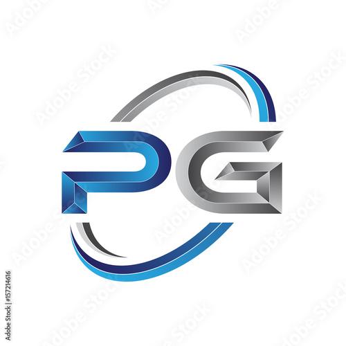Simple Initial Letter Logo Modern Swoosh Pg Buy This Stock Vector