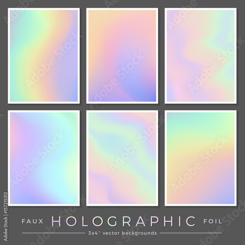Tela hologram backgrounds: set of 6 3x4'' realistic creative faux holographic foil ca