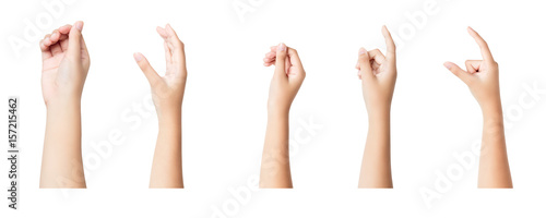 Fototapety, obrazy: Set of female hands sign isolated on white background