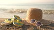 Wicker hat on the shore. Flip flops near water. Are you ready for summer.