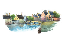 Watercolor Postcard Of Stone Bridge In A Small Old German Town. Aquarelle Illustration  European City In Summer