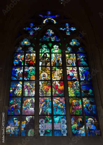 Alphonse Mucha stained glass in St. Vitus Cathedral, Prague Poster
