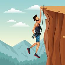 Scene Landscape Man Hanging On The Cliff Rock Climbing Vector Illustration