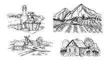 Handdrawn Scetch Of Rustic Lan...