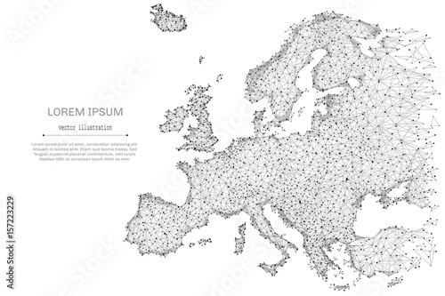 Abstract Mash Line And Point Europe Map On White Background With An