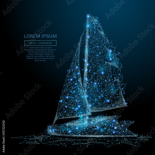 Polygonal Sailing yacht. Sea business concept. Vector Sailboat mesh spheres from flying debris. Thin line concept. Blue structure style illustration