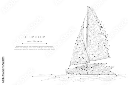 Fotografía  Abstract mash line and point Sailing yacht on white background with an inscription