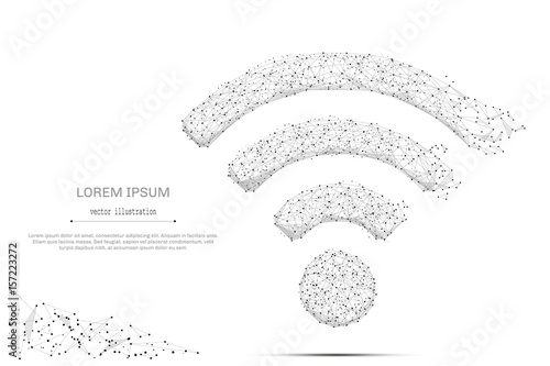 Abstract Mash Line And Point Wi Fi Icon On White Background With An