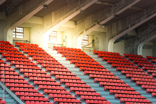 Cadres-photo bureau Stade de football Red chairs in stadium