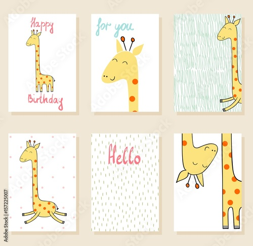 Cute giraffe in vector. Greeting card for birthday. Poster
