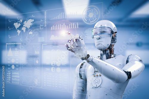 Photo robot working with digital display