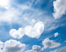 Heart White Clouds On Blue Sky...