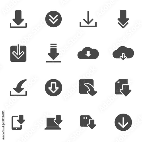 Cuadros en Lienzo Vector black download icons set