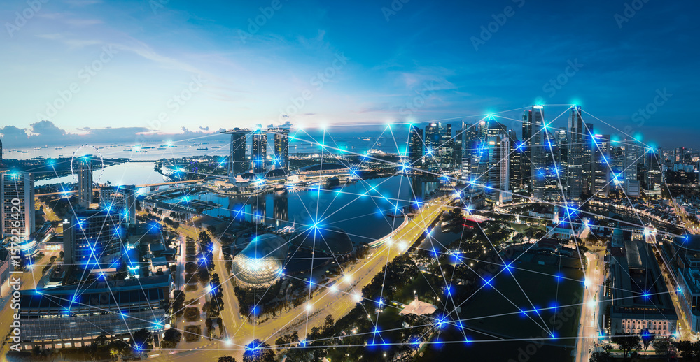 Fototapety, obrazy: Smart city and internet of things, wireless communication network, abstract image visual