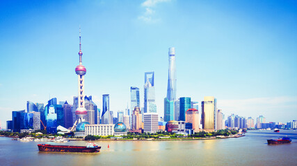 Shanghai skyline, Panoramic view of shanghai skyline and huangpu river, Shanghai China
