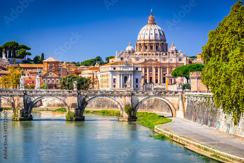 Rome, Italy - Vatican, Saint Peter Basilica and Tiber River