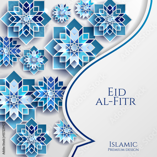 With Paper Cutting Style Bright Colored Arabic Ic Geometric Pattern Art Decoration Eid Al Fitr Iftar Template For Flyer
