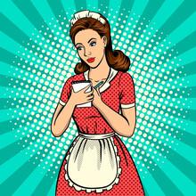 Waitress Woman Pop Art Vector ...