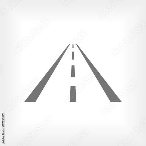 Fototapety, obrazy: Asphalt road with markings leading into the distance on a white background vector icon