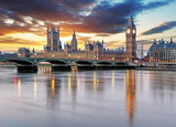 Fototapeta Bridge - London - Big ben and houses of parliament, UK