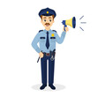 Isolated policeman with megaphone.