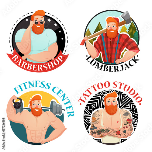 Fotografie, Obraz  Four Labels With Brutal Men Icons