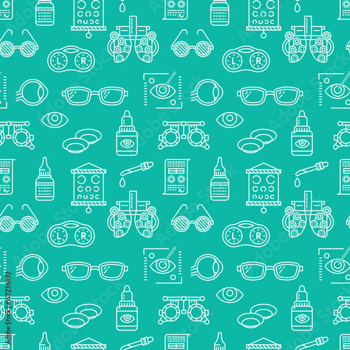 Fotomural  Ophthalmology, eyes health care seamless pattern, medical vector blue background