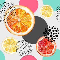 Fototapeta Watercolor fresh orange, grapefruit and colorful circles seamless pattern.