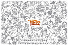 Hand Drawn Tattoo Doodle Set Background With Orange Lettering In Vector