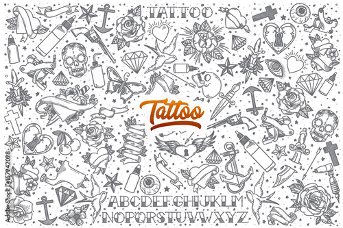 Fotomural Hand drawn Tattoo doodle set background with orange lettering in vector