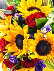 Panel Szklany Słoneczniki Composition with bouquet of flowers
