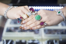 Jewellery, Rings And Accessories On Women Hand