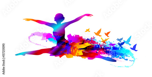 Photo  Colorful ballet dancer digital painting with flying birds