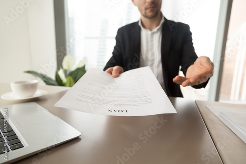 Canvas Print Bank employee offers to read and check loan agreement form