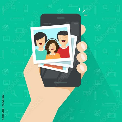 Obraz Photo gallery on mobile phone flat cartoon style, photo album on smartphone vector illustration, photography of family on cellphone - fototapety do salonu