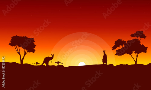 Garden Poster Brown Kangaroo with red sky landscape silhouette