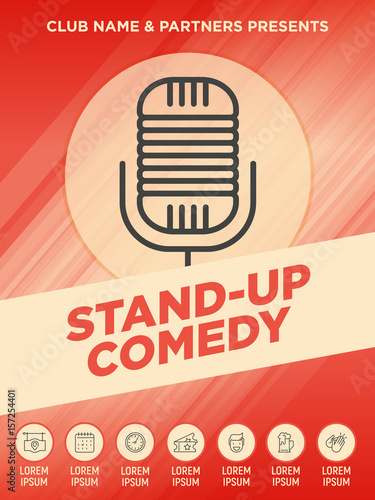 stand up comedy show poster with thin line microphone icon vector illustration