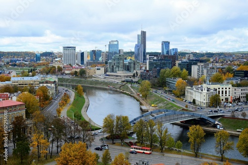 Keuken foto achterwand Moskou Vilnius town aerial view from Gediminas castle tower