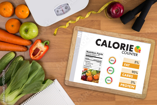CALORIE  counting counter application Medical eating healthy Diet concept Fototapete