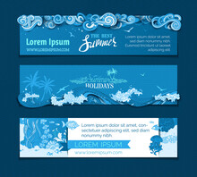 Vector Set Of Summer Horizontal Banners.