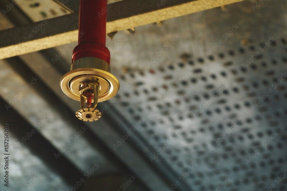 Fototapety, obrazy: Automatic Fire Sprinkler in red water pipe System