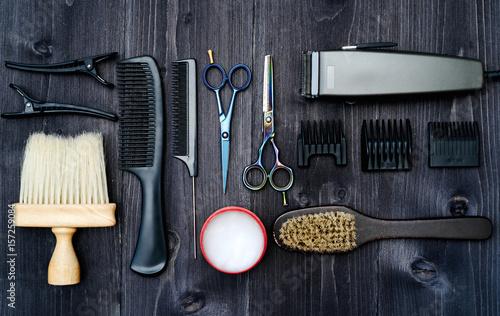 Fotografie, Obraz  Hairdresser tools on wooden background