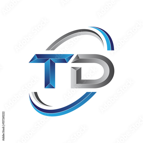 Simple Initial Letter Logo Modern Swoosh Td Buy This Stock Vector