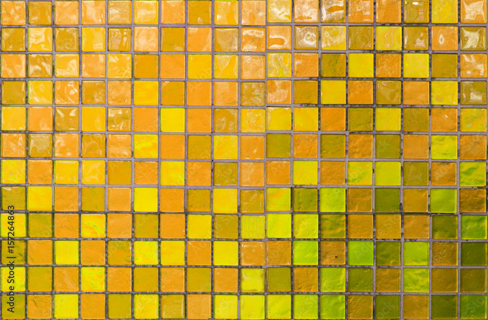 Fototapety, obrazy: wall and floor mosaic tiles in azure yellow