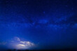 Milky way and starry sky. Bright cloud in the background.