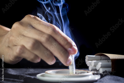 White smoke cigarettes concept abstain from smoking. Wallpaper Mural